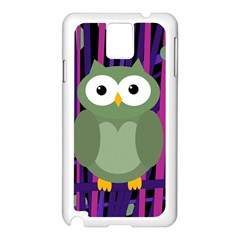 Green and purple owl Samsung Galaxy Note 3 N9005 Case (White)