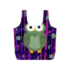 Green and purple owl Full Print Recycle Bags (S)