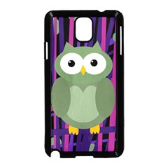 Green and purple owl Samsung Galaxy Note 3 Neo Hardshell Case (Black)