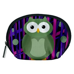 Green and purple owl Accessory Pouches (Medium)