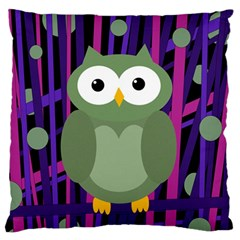 Green and purple owl Large Flano Cushion Case (One Side)