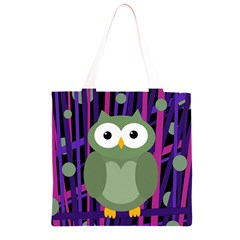 Green and purple owl Grocery Light Tote Bag