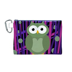Green and purple owl Canvas Cosmetic Bag (M)