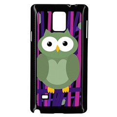 Green and purple owl Samsung Galaxy Note 4 Case (Black)