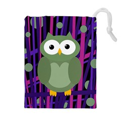 Green and purple owl Drawstring Pouches (Extra Large)