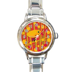 Yellow bird Round Italian Charm Watch