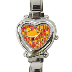 Yellow bird Heart Italian Charm Watch