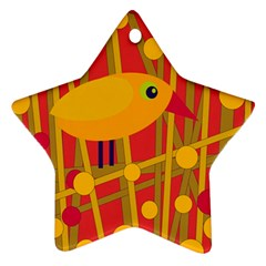 Yellow bird Star Ornament (Two Sides)