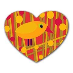 Yellow bird Heart Mousepads