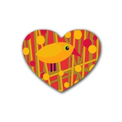 Yellow bird Heart Coaster (4 pack)