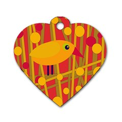 Yellow bird Dog Tag Heart (One Side)