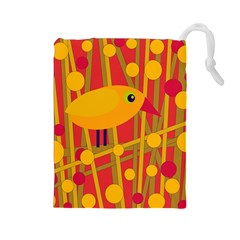 Yellow bird Drawstring Pouches (Large)