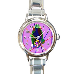 Pink artistic abstraction Round Italian Charm Watch