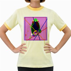 Pink artistic abstraction Women s Fitted Ringer T-Shirts