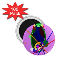 Pink artistic abstraction 1.75  Magnets (100 pack)