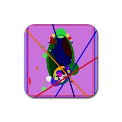Pink artistic abstraction Rubber Coaster (Square)