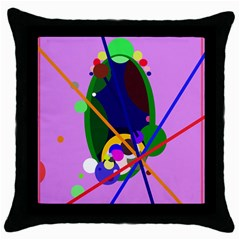 Pink artistic abstraction Throw Pillow Case (Black)