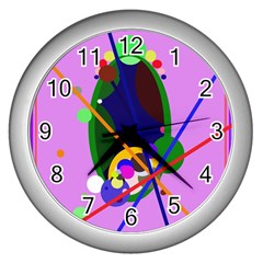 Pink artistic abstraction Wall Clocks (Silver)