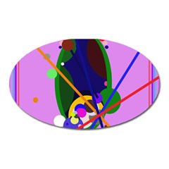 Pink artistic abstraction Oval Magnet