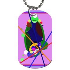 Pink artistic abstraction Dog Tag (One Side)