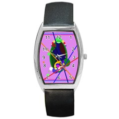 Pink artistic abstraction Barrel Style Metal Watch