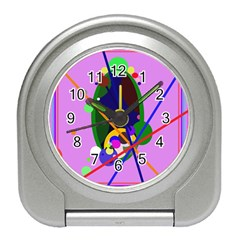 Pink artistic abstraction Travel Alarm Clocks