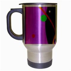 Pink artistic abstraction Travel Mug (Silver Gray)