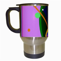 Pink artistic abstraction Travel Mugs (White)