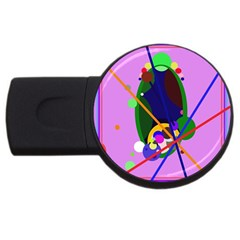 Pink artistic abstraction USB Flash Drive Round (4 GB)