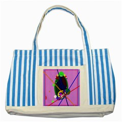 Pink artistic abstraction Striped Blue Tote Bag