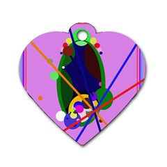 Pink artistic abstraction Dog Tag Heart (One Side)