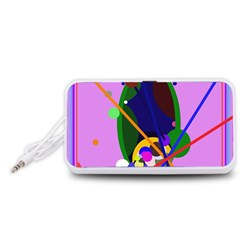 Pink artistic abstraction Portable Speaker (White)