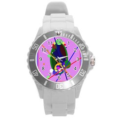 Pink artistic abstraction Round Plastic Sport Watch (L)