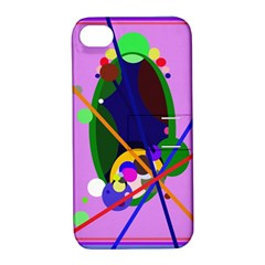Pink artistic abstraction Apple iPhone 4/4S Hardshell Case with Stand