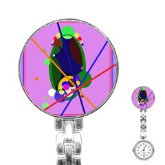 Pink artistic abstraction Stainless Steel Nurses Watch