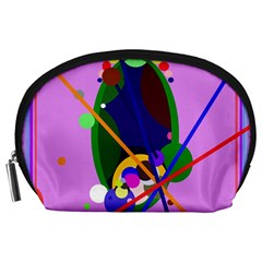 Pink artistic abstraction Accessory Pouches (Large)
