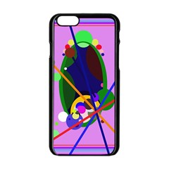 Pink artistic abstraction Apple iPhone 6/6S Black Enamel Case