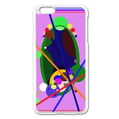 Pink artistic abstraction Apple iPhone 6 Plus/6S Plus Enamel White Case