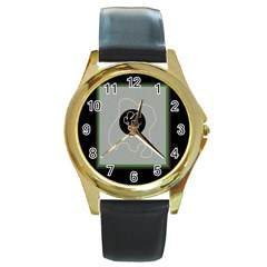 Gray abstract art Round Gold Metal Watch