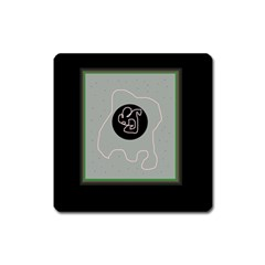 Gray abstract art Square Magnet