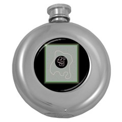 Gray abstract art Round Hip Flask (5 oz)