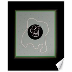 Gray abstract art Canvas 11  x 14