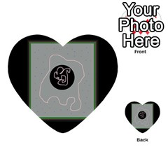 Gray abstract art Multi-purpose Cards (Heart)