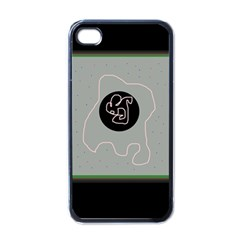 Gray abstract art Apple iPhone 4 Case (Black)