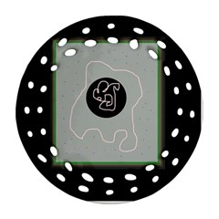 Gray abstract art Round Filigree Ornament (2Side)