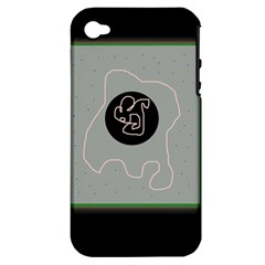 Gray abstract art Apple iPhone 4/4S Hardshell Case (PC+Silicone)