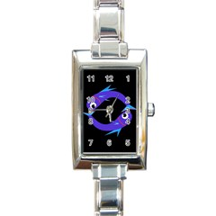 Blue fishes Rectangle Italian Charm Watch