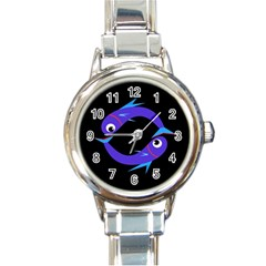 Blue fishes Round Italian Charm Watch
