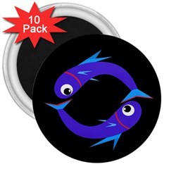 Blue fishes 3  Magnets (10 pack)