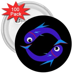 Blue fishes 3  Buttons (100 pack)